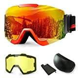 【2019New】 Ski Goggles, Anti-Fog UV Protection Winter Snow Sports Snowboard Goggles with Interchangeable Spherical Dual Lens for Men Women & Youth Snowmobile Skiing Skating