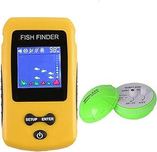 YOEDAF ワイヤレス ソナー 魚探知機 充電式 スマート 魚群探知機 ポータブル 手持ち 液晶ディスプレイ ディスプレイ センサー トランスデューサー 深さ ソナー 噴出 釣り ファインダー アラーム 魚 識別検知器