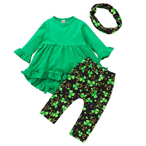 Toddler Baby Girl St. Patrick's Day Outfit Green Ruffle Dress Shirt Tunic Tops Shamrock Leggings Pants Set with Scarf (Dark Green, 5-6 Years)