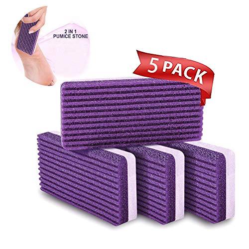Wudi 5er-Pack Premium Fußfeile Natürlicher Bimsstein für Füße Kallus-Entferner Fußwäscher Perfekte Pediküre-Werkzeuge zum Abblättern, um abgestorbene Haut zu entfernen