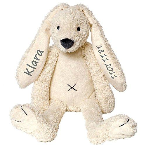 Elefantasie Stofftier Hase mit Namen und Geburtsdatum personalisiert Geschenk 40cm weiß Aufdruck grau