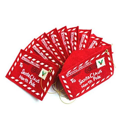 Rosenice Christmas Envelope Letter to Santa Claus Felt Embroidered Christmas Tree Decor Pack of 10