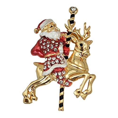 Zuiaidess Broches Y Alfileres para Mujer,Vintage Elegante Rhinestone Crystal Rojo Ciervo de Oro Viejo diseño Nupcial Bodas Brooch Pin Decoración