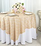 Wedding Linens Inc. 54 in Square Lace Table Overlays, Lace Tablecloths, Lace Table Overlay Linens, Lace Table Toppers for Wedding Decorations, Events Banquet Party Supplies (Champagne)