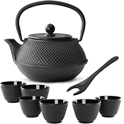 Bredemeijer theepot in kleine zwarte Aziatische gietijzer, 0,8 liter, set met thee-filterzeef, theebeker (6 kopjes) & deksellifter