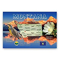 MONTANA MAP postcard set of 20 identical postcards. MT state map post cards. Made in USA. [並行輸入品]