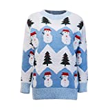 sararui Pulls Femme Noël de Noël for Femme Themned Themned Holiday Sweater Teen Girl Pullover Tops Tops Jumper Pulls, Gilets et Sweats Femme (Color : Blue, Size : One Size)
