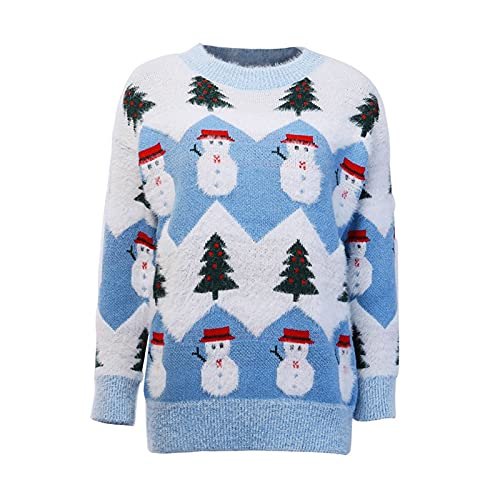 OMIDM Pull pour Femmes Noël de Noël for Femme Themned Themned Holiday Sweater Teen Girl Pullover Tops Tops Jumper Jumpers pour Femmes (Color : Blue, Size : One Size)