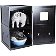 Petsfit Espresso Double-Decker Pet House Litter Box Enclosure Night Stand Painted with Non-Toxic