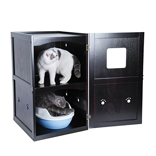 Petsfit Double-Decker Pet House Litter Box Enclosure Night Stand Painted with Non-Toxic with Latch...