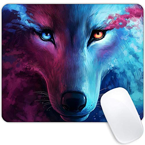 Mouse pad Watercolor ice fire Wolf, Personalized Rectangular Design Premium Texture Mouse pad for Men, Waterproof Non-Slip Rubber Base Custom Mouse pad Suitable for Laptop PC Gaming Office