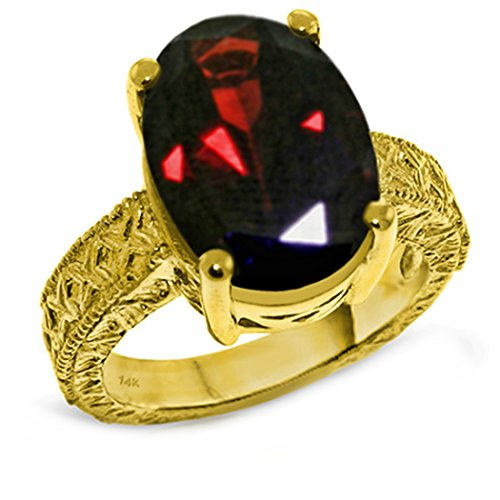 Galaxy Gold 14k Solid White, Rose, Yellow Gold Filigree Ring with 6 Carat Oval Natural Garnet (yellow-gold, 9.5) Maine