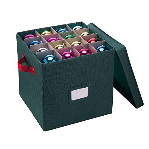 Elf Stor 83-DT5022 1023 Caixa de armazenamento de enfeite de Natal verde premium para 64 bolas com divisórias, caixa