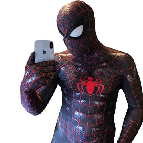 Symbiose Spiderman Adulte Lycra Spandex Yeux Rouges Jumpsuit Yeux Blancs Halloween Cosplay Costume White-XXL