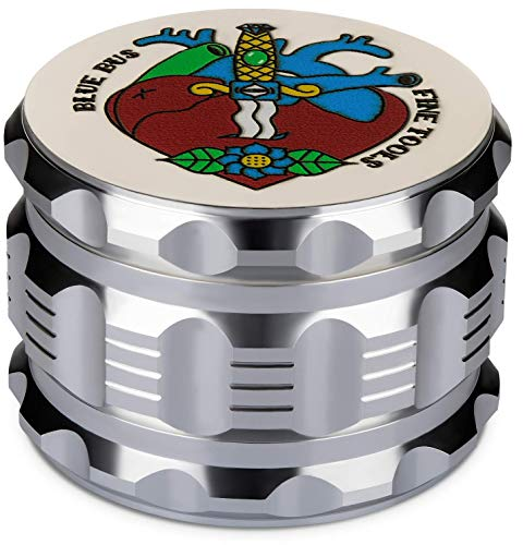 """Best Herb Grinder Large 4 Piece, 2.5"""" Silver Aluminium, Designed Packaging and Unique Brush By Blue Bus FINETOOLS"""