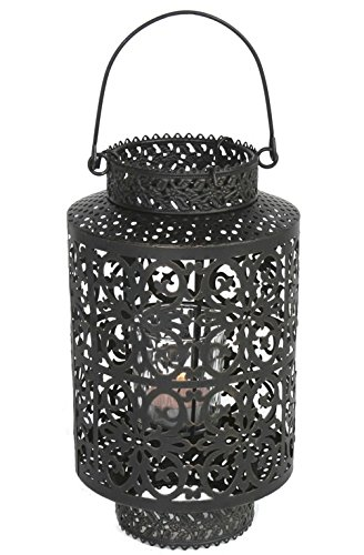 Laterne Metall incl. Glaseinsatz für Teelicht, schwarz, H 22 cm