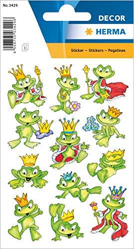 Herma 3429 Autocollants en papier « Reine des grenouilles » pour garçons, filles, enfants et anniversaires, 36 animaux autocollants pour enfants