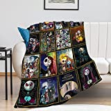 Nightmare Before Christmas Blanket Ultra Soft Throw Blanket Light Weight Blankets Flannel Fleece for Couch Sofa Beding for Kids Adults 50'X40'