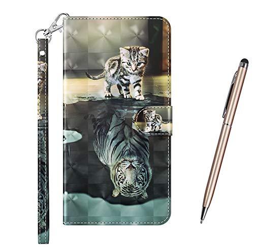 TOUCASA Kompatibel mit Samsung Galaxy A20S Hülle, Handyhülle Brieftasche PU Leder Flip [3D] Hülle Magnetverschluss Handytasche Klapphülle Tasche Lederhülle Schutzhülle (Tiger Katze)