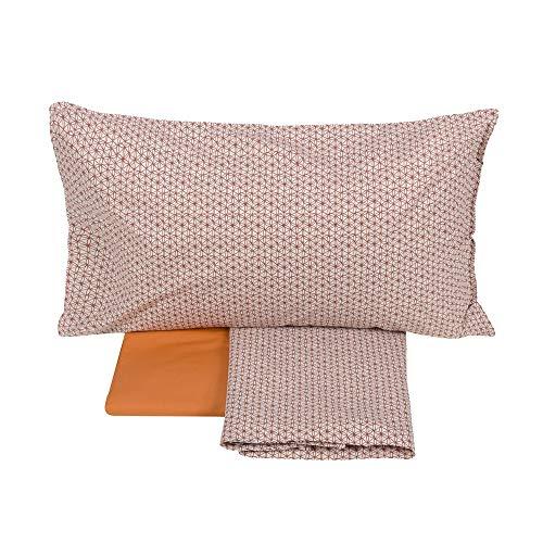 Fazzini Squaw - Juego de sábanas, 1 plaza y media, color naranja