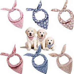 SATINIOR 6 Pieces Dog Bandana Dog Cat Scarf Washable Reversible Printed Bibs Cotton Dog Puppy Kerchief Set for Small Medium Size Cat Dog Pets
