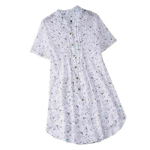 iHENGH Damen Bequem Mantel Lässig Mode Jacke Frauen Frauen mit Langen Ärmeln Vintage Floral Print Patchwork Bluse Spitze Splicing Tops(Weiß-b, XL)