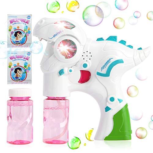 GRASARY Rociador De Burbujas Multicolor, Dinosaurio De Dibujos Animados, Luces LED, Juguete Musical con Recarga, para Niños Pequeños, Juego De Regalo De Juguete Intelectual Niños
