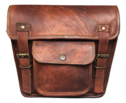 VINTAGE CRAFT SHOP Leather Side Pouch Motorcycle Bag Saddlebags Handlebar Sissy Bar Panniers Travel Tool Bag for Bike and Bicycle