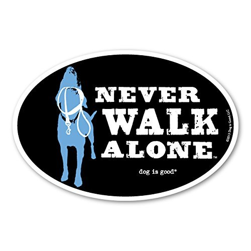 Dog is Good Oval Car Magnet Never Walk Alone - Great Gift for Dog Lovers, 4x6 Inches