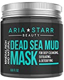 Aria Starr Dead Sea Mud Mask For Face, Acne, Oily Skin & Blackheads - Facial Pore Minimizer, Reducer & Pores Cleanser Treatment - Natural For Younger Looking Skin