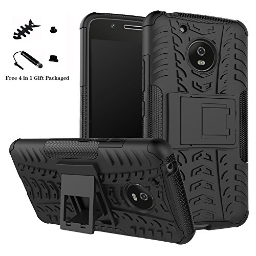 LiuShan Moto G5 case, [Shockproof] Heavy Duty Combo Hybrid Rugged Dual Layer Grip [Impact Protection] with Kickstand For Motorola Moto G5 Smartphone (With 4in1 Packaged)(Not Fit MOTO G5S),Black