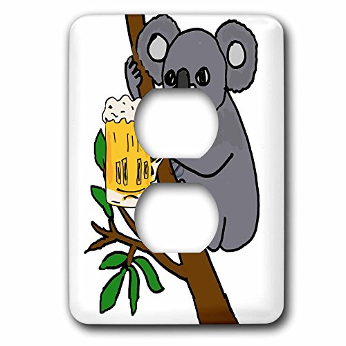 3dRose (lsp_260807_6) 2 Plug Outlet Cover Funny Cute Koala Bear Drinking Beer