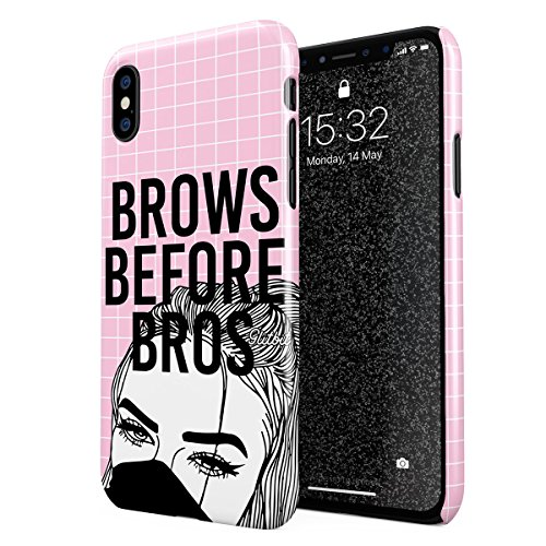 Glitbit Compatible with iPhone X, iPhone XS Case Glamourholic Brows Before Bros Makeup Junkie Artist Sassy Slay Girl For Girls Tumblr s MUA Thin Design Durable Hard Shell Plastic Protective Case Cover