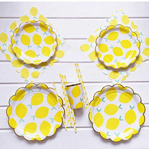 65 Pieces Lemon Themed Party Supplies Included Paper Plate and Cup Tissue For Boys And Girls Birthday Cutlery Set