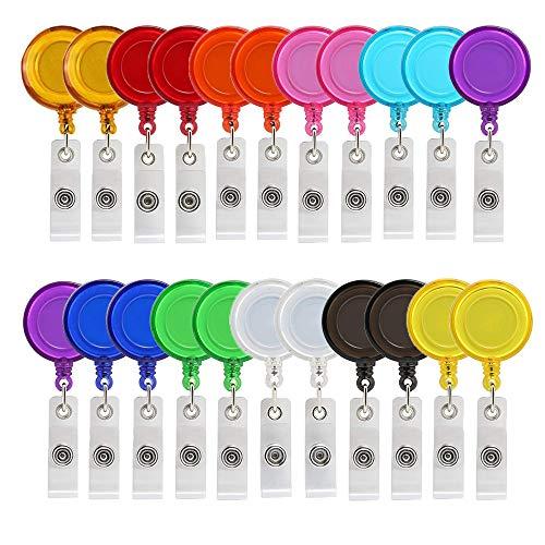22 Stück 11 Farben Zugband Schlüsselanhänger Ausweishalte mit clip Schlüssel JoJo Ausweis/Schlüssel mit extra starker Feder und reißfester Schnur (A)