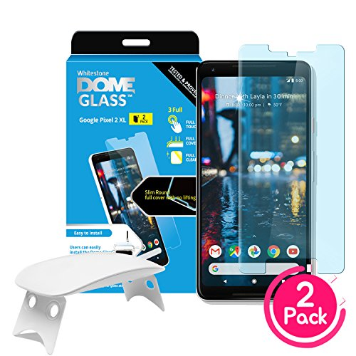 (2 Pack) Dome Glass Google Pixel 2XL Screen Protector Tempered Glass Shield, [Liquid Dispersion Tech] 2.5D Edge of Screen Coverage, Easy Install Kit and UV Light by Whitestone for Google Pixel 2 XL