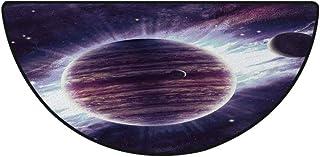 円弧 玄関マット 屋外 屋内 清新 洗える 40cm×60cm 滑り止め付 マイクロファイバー 滑り止め ラグ ミニマット 丸洗える 銀河、宇宙テーマの惑星土星火星海王星サイエンスフィクション太陽シーンArtprint、モーヴパープル