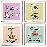 Zumatico Yoga Animals Funny Coasters for...