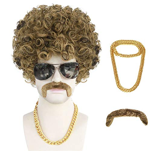 Anogol Wig+{ 1 Gold Necklace + 1 Brown Beard } Short Black Gradient Brown Wig Afro Curly Wigs 80s Wig for Men