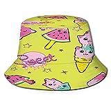 Sombrero de Pesca,Cute Kids Ice Cream Pattern Chicas,Senderismo para Hombres y Mujeres al Aire Libre Sombrero de Cubo Sombrero para el Sol