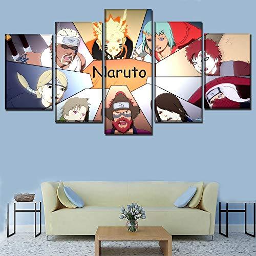 Impresiones pintura arte de la pared juego de 5 paneles Naruto Shippuden Ultimate Ninja Storm Jinchuriki decoración del hogar lienzo modular 20x10 pulgadas