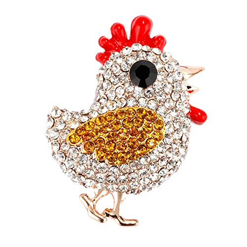 JINYIWEN Crystal Chick Brooches for Women Trendy Rhinestone Jewelry Animals Brooch Pins Chick