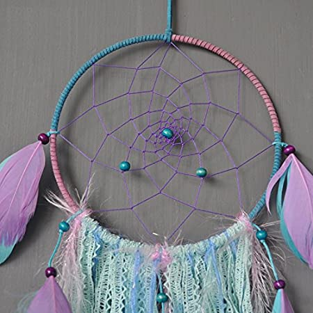 Purple Bohemia Dream Catcher Dream Catcher Handmade Traditional White Feather Wind Chime Wall Hanging Home Decoration