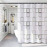 Huahuanghui Duschvorhang, 180 * 200 Anti-Schimmel Badevorhang, Wasserdichter Badezimmervorhang,Duschvorhang 3D Wasserwürfel,Duschvorhang mit 10 STK Vorhanghaken, Waschbar Anti-Bakteriell Duschvorhang