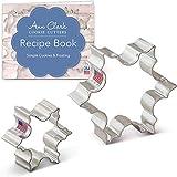 Ann Clark Cookie Cutters Juego de 2 cortadores de galletas copo de nieve de Navidad con libro de recetas - 6,4 cm y 8,9 cm