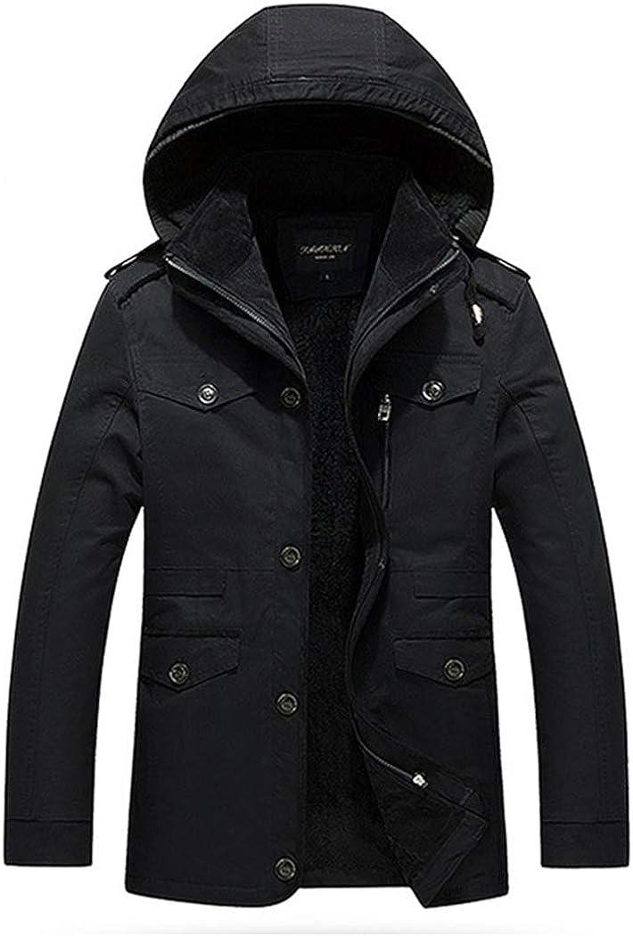 Men's Casual Winter Coat Fleeces Lining Detachable Hood Black Jacket