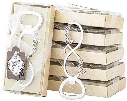 48 Pcs Love Forever Bottle Openers for Wedding Party Bridal Shower Favors Decorations Gifts or Souvenirs for Guests with Individual Gift Package 48 silver