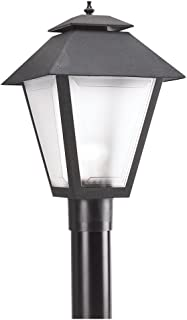 Sea Gull Lighting 82065-12 Polycarbonate-Outdoor One-Light Outdoor Post Lantern, Black
