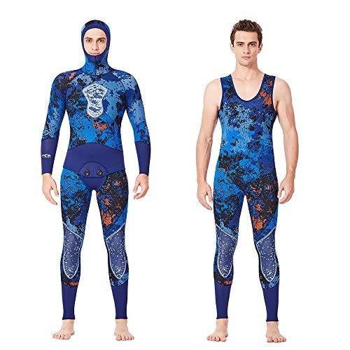 NCBH Wetsuit Heren 5mm Neopreen Volledige Scuba Duikpak 2-delig Jumpsuit Hoodie Thermische UV Bescherming badpak voor surfen, Camouflage.