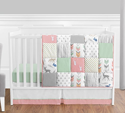 Coral, Mint and Grey Woodsy Deer Girls Baby Bedding 4 Piece Crib Set